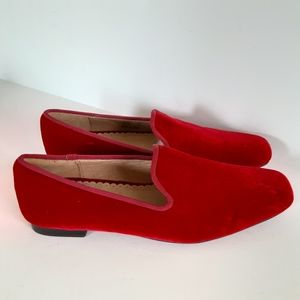 Lands' End Jewel Royal Red Velvet Slip on Loafer 6